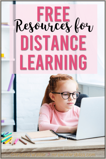 girl distance learning at home