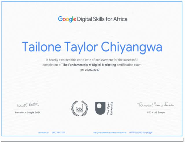 Taylor Chiyangwa Digital Marketer qualification