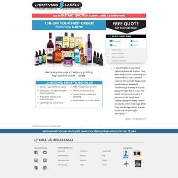 Lightning Labels' Promotional Landing Page