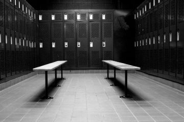 Middle School Gym Locker Room in black and white color