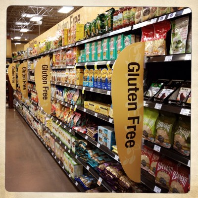 Gluten free grocery store aisle