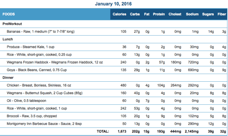 Mike's Diet Journal Entry for January 10 2016