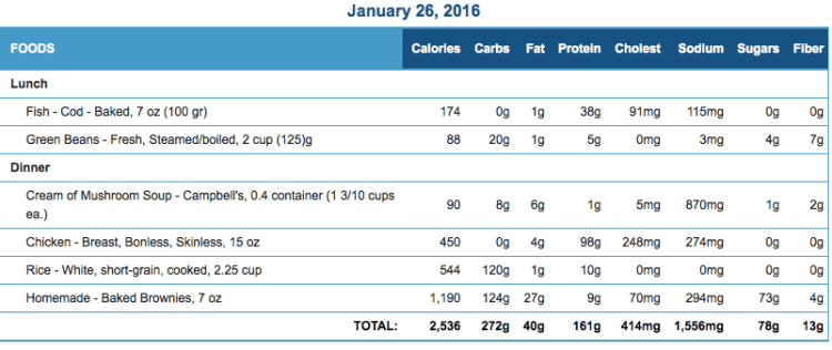 Mike's Diet Journal Entry for January 26 2016