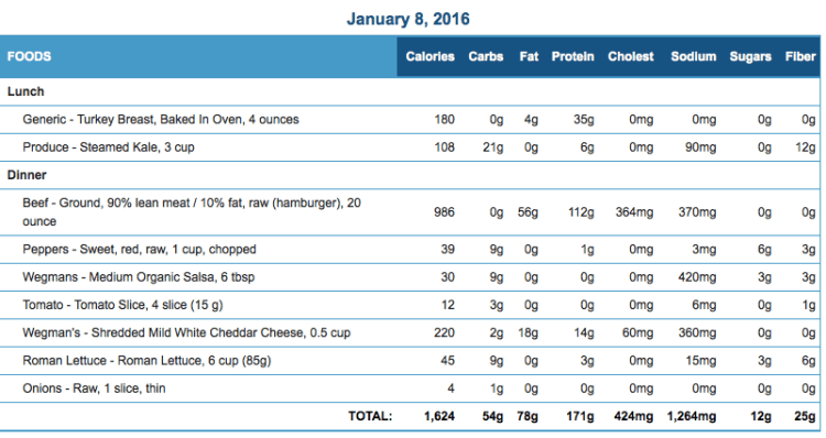 Mike's Diet Journal Entry for January 8 2016