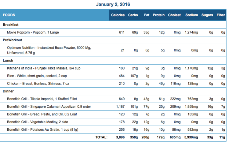 Mike's Diet Journal Entry for January 2 2016