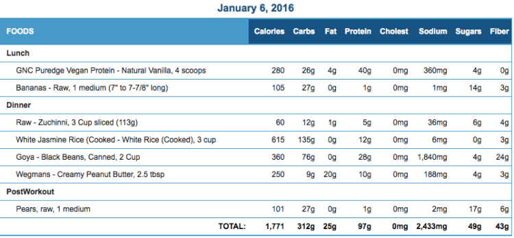 Mike's Diet Journal Entry for January 6 2016