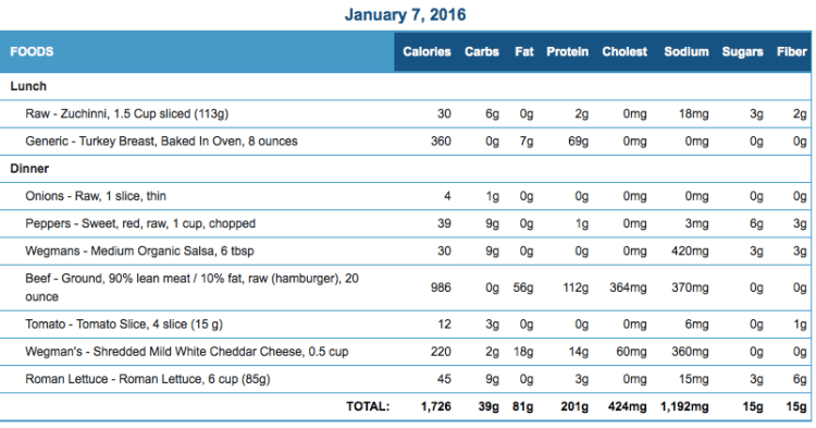 Mike's Diet Journal Entry for January 7 2016
