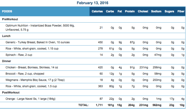 Mike's Diet Journal Entry for Feb 13 2016