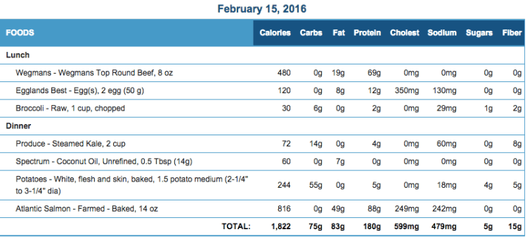 Mike's Diet Journal Entry for Feb 15 2016
