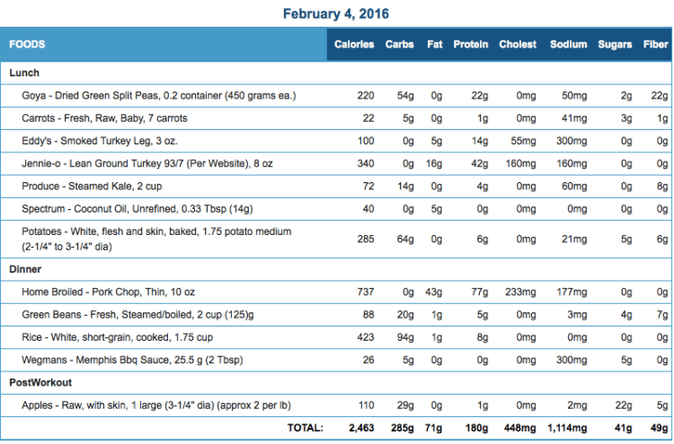 Mike's Diet Journal Entry for February 4 2016