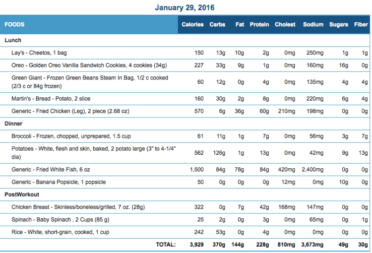 Mike's Diet Journal Entry for January 29 2016