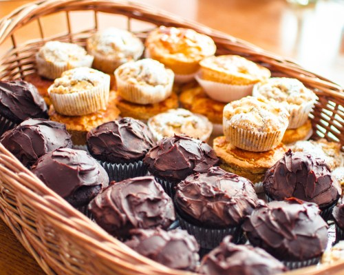 basket of cupcakes