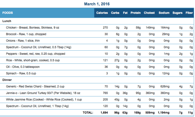Mike's Diet Journal Entry for March 1 2016