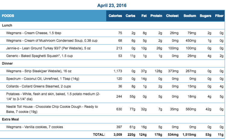 Mike's Diet Journal Entry for April 23 2016