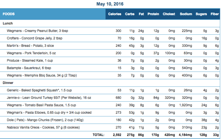 Mike's Diet Journal Entry for May 10 2016
