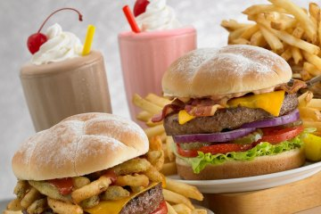 Milk shakes, cheeseburgers, hamburgers, french fries, onion rings