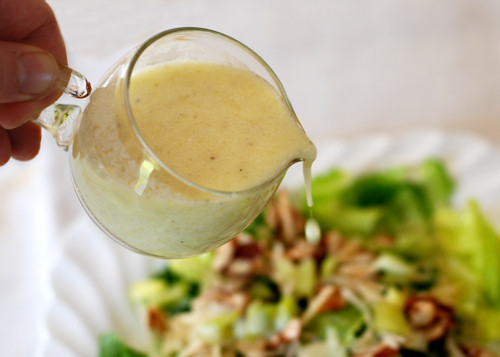Salad dressing being poured