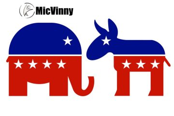 elephant and donkey representing conservative and liberal parties for your voting decision