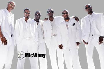 Music Group New Edition posing with MicVinny logo at bottom