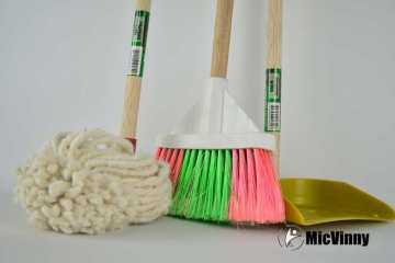 Broom, mop and dust pan showing you to Spring clean your health with Micvinny