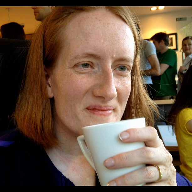 20120523 Madame Oui enjoys a cup of tea