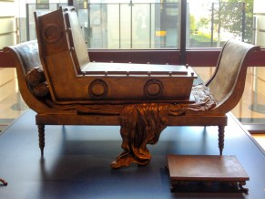Sitting coffin, Magritte Museum, Brussels, Belgium.