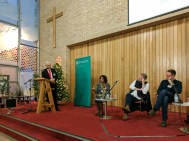Panel discussion: Paul CLARK (MC), Lisa ANDERSON, Colin DAVIDSON, and Niall KERR (c) Allan LEONARD @MrUlster