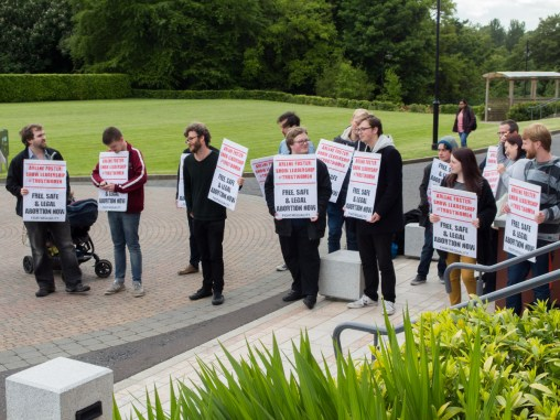 Abortion protest. Harri HOLKERI lecture, Riddel Hall, Queen's University Belfast, Northern Ireland.
