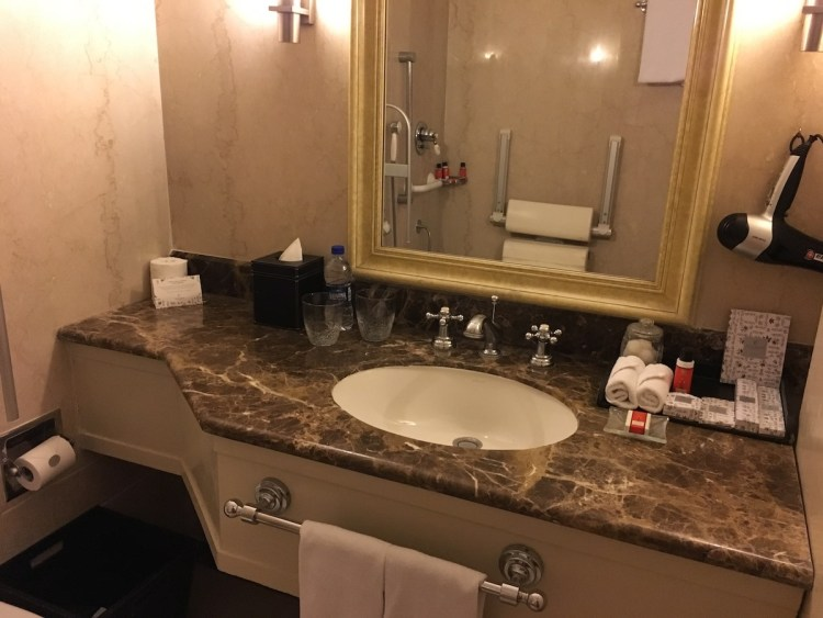 Washroom in the accessible room at The Claridges