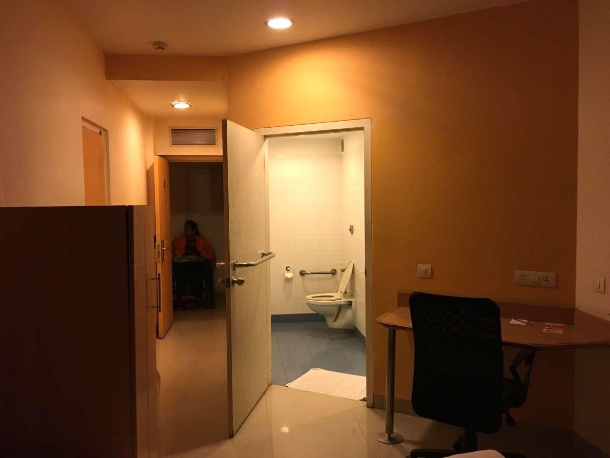The wide door of the accessible bathroom