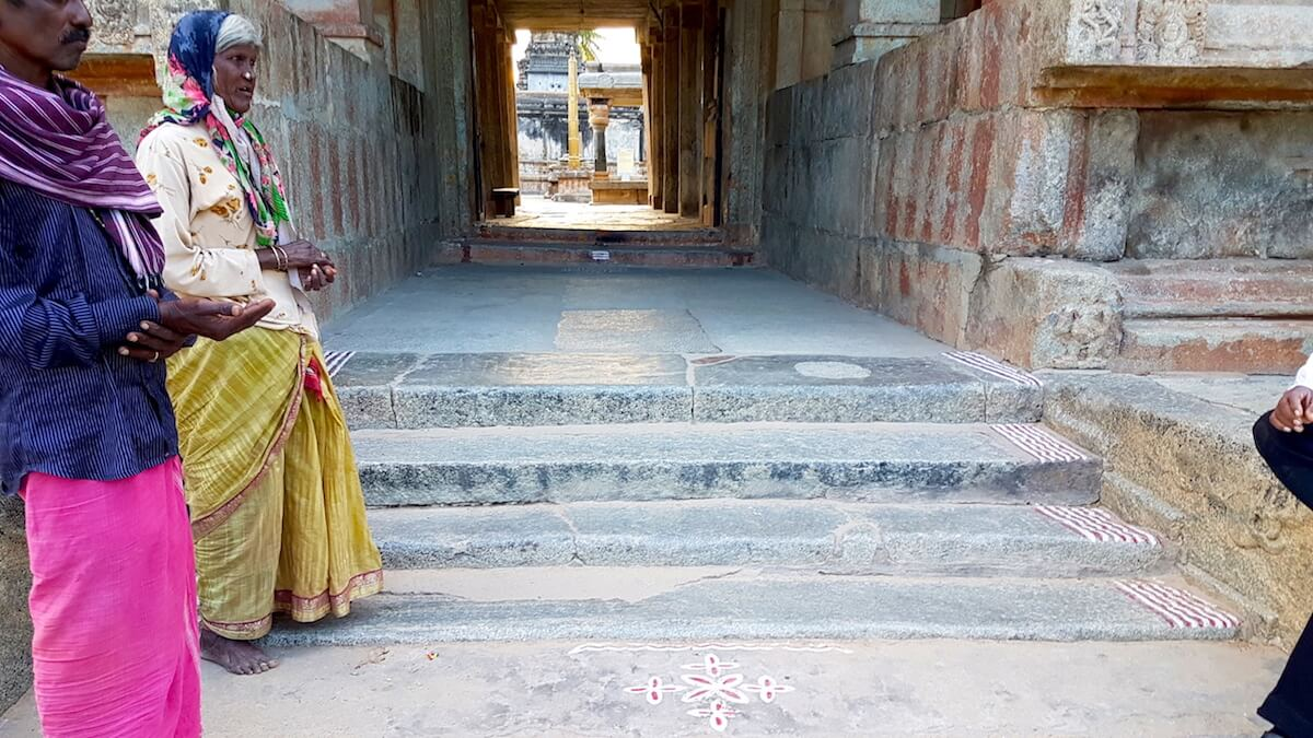 Steps at the entrance of Ramalingeshwara temple complex