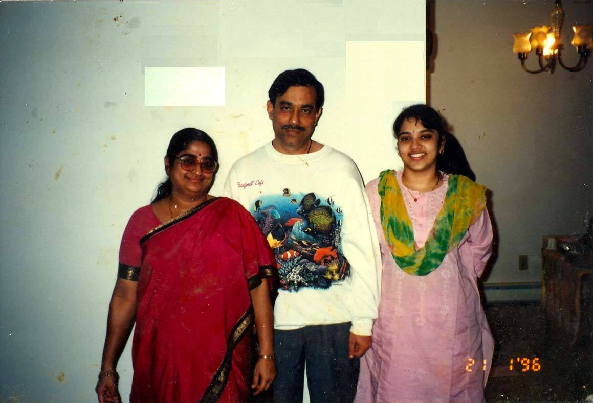 Preethi With her mother and father