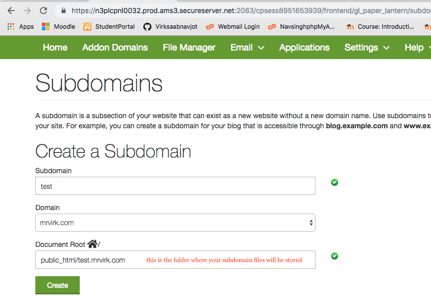 creating a subdomain steps