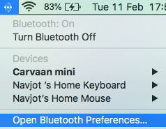 How to open bluetooth preferences in Mac