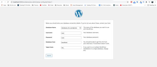 Wordpress install on MAMP Locally