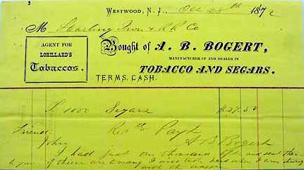 A.B. Bogert Tobacco and Segars - 1872.
