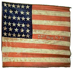 Flag of the Union Army 22nd Infantry Regiment New Jersey Volunteers.