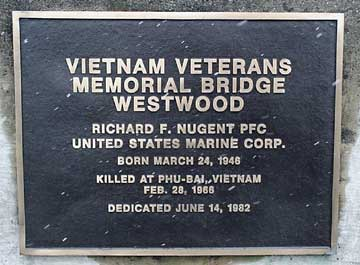 Vietnam Veterans Memorial bridge dedication plaque.