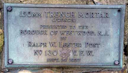 World War I trench mortar dedication plaque.