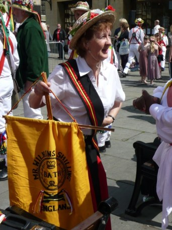 First time in new kit at Bathampton Morris' Anniversary at Kingston Parade, outside the Abbey and Roman Baths