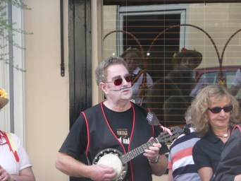 Bath Folk Festival, St James Place 2010 - banjo player made up for the Widcombe Mummers (nice moustache!)