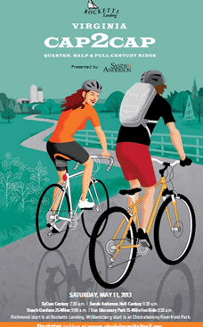 Next weekend  on Saturday, May 11, you can join over 2000 bike riders for one of Virginia's largest cycling events — the Capital to Capital ride, aka Cap2Cap — a fundraiser for the Virginia Capital Trail Foundation