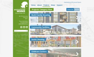 """The new eworks.org portfolio used an """"accordion"""" layout inspired by their old site."""