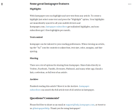 Screenshot of article on Instapaper.com