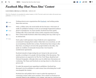 Screenshot of article on New York Times website