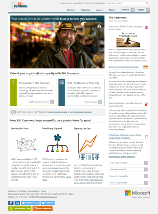 The new 501 Commons home page shows the power of their services as illustrated by a client's work. News, links to services, and an overview of the organization help new users learn what 501 Commons does.