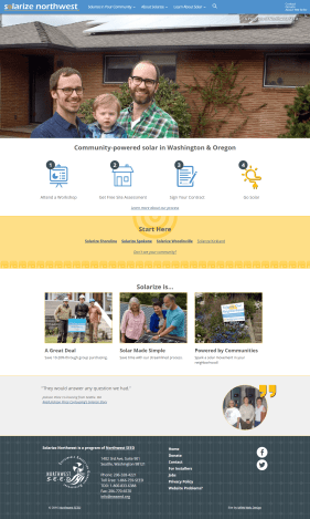 The new home page explains the Solarize Northwest process, lists current campaigns, and shows a testimonial from a previous solarize campaign participant.