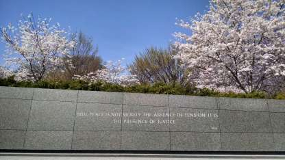 """Engraved: """"True peace is not merely the absence of tension,; it is the presence of justice."""""""