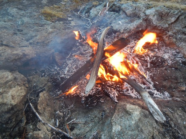Obstruction Island campsite and campfire, burning what little wood I had been able to find.
