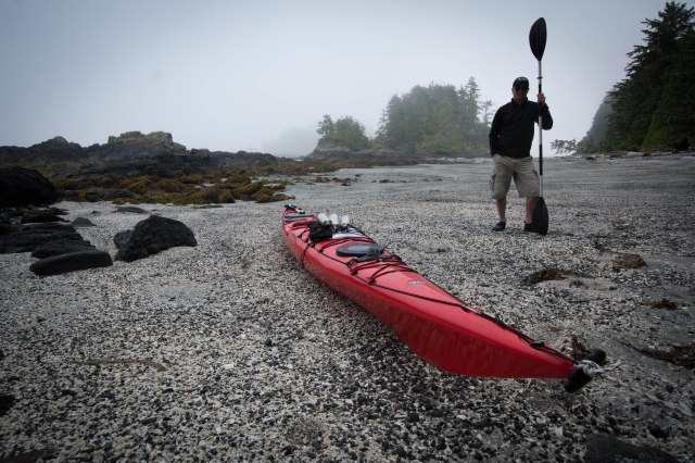 Landing on Blunden Island, about a 20 km paddle from Tofino and relieved to be off the turbulent water.